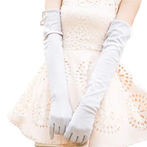 Ball Sommer Kostüm - Nappaglo Damen Lange Sonnenschutz-Handschuhe Touchscreen Baumwolle Outdoor für Sommer UV-Schutz (hellgrau (Touchscreen))