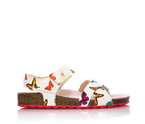GUESS -Weiße Sandale aus Stoff, mit Klettverschluss, Logo auf der Vorderseite, Mädchen-31 (Schuhe Kinder Guess)