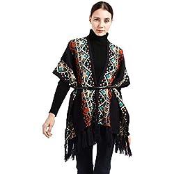 Huwaioury - Poncho de estilo étnico de gran tamaño, bufanda de manta, rayas geométricas, color de contraste, suéter de cárdigan para mujer con borlas de invierno negro
