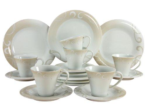 Creatable 19005 Soft Finesse Marron, Kaffeeservice 18 teilig, Porzellan, mehrfarbig, 31 x 23 x 34,5...