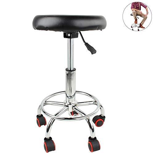 Stehhilfe Hocker Rollhocker Arbeitshocker Höhenverstellbare Um 360° drehbarer Barhocker Swivel Rollstuhl mit Metall Chrom Rahmen Einstellbare Verstellbare Massage Salon Spa