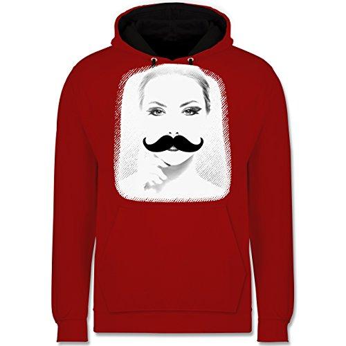 Hipster - Frau Moustache - Kontrast Hoodie Rot/Schwarz