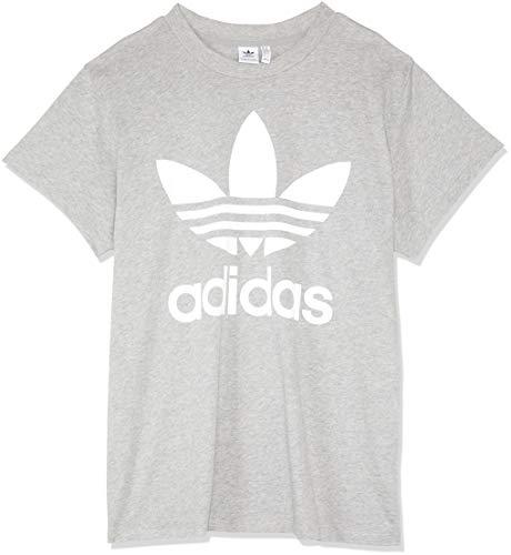 adidas Damen Big Trefoil T-Shirt, Medium Grey Heather, 40 - Medium Damen T-shirt