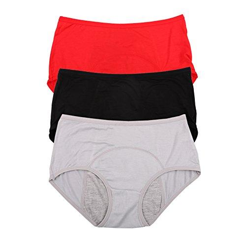 Bambusviskosefaser Hochhaus kurze Menstruation Physiologische auslaufsicher Slip Multi Pack Größe 36-44 (44, Rot Grau Schwarz)