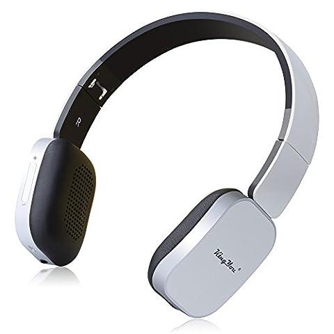 KingYou On-Ear Bluetooth Kopfhörer Faltbare Drahtlose Stereo Headset mit Mikrofon und Wired Modus für iPhone, iPad, iPod, Android smartphone, Laptop und MP3-Player(HD-01 Weiß+Schwarz)