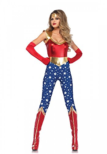 Sensational Super Hero Damen-Kostüm von Leg Avenue Superheldin Wonder Woman Comic, Größe:M