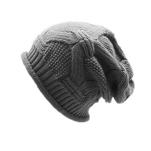 ALIKEEY Hombres Mujeres Holgada Caliente Crochet Invierno Lana Tejer Esquí Beanie Cráneo Slouchy Ca Gris Marron Premium Carlista Paracaidista Chica Campana