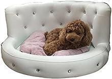 Sofá de cama de animal doméstico de madera sólida cubierta de cuero impermeable con lavable desmontable Mat suave 3 tamaños de alto grado gato cama de gato , white , small