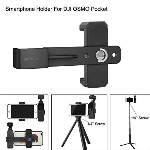 Fuibo Multifunktionaler 1/4 '' Mount Adapter Platte Smartphone Halterung Kamerahalterung Befestigungsbügel für DJI OSMO Pocket Mobile Gimbal Stabilisator Zubehör (Schwarz) -