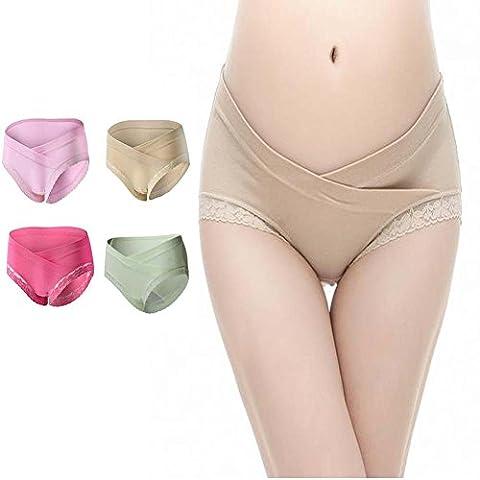DORSION Sous-vêtements Maternité Femmes Enceintes Briefs Coton à Taille Basse en U Maternité Knickers 4Pack (M, 4Pack (green/Beige/Pink/Rose Red))