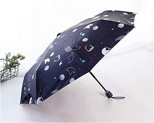 Erecqb Regenschirm Neuer Netter Kleiner Bär Automatischer Regenschirm Weiblicher Kleiner Frischer Regensicherer Sonniger Sonnenschutz Anti-Uv-Schatten 3 Faltender Göttinregenschirmsonnenschirm, C.