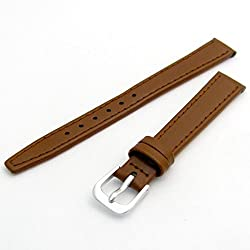 Fine Stitched Calf Leather Watch Strap Band With Pins 10mm Tan with Chrome (Silver Colour) Buckle R624/10s