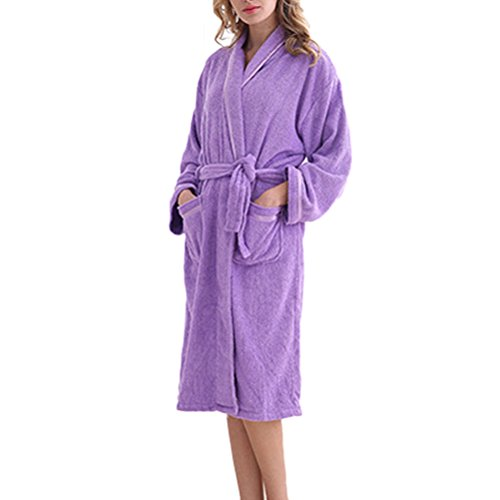 Zhhlinyuan Lovers Luxury Flanelle Super Soft Robes Dressing Gown purple
