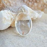 Diente de león Pide un deseo Real Flores Transparente Vaso Colgante Plata Esterlina 925 Cadena Collares