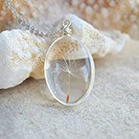 Dandelion Seed Make a Wish Real Flowers Pendant 925 Sterling Silver Necklace