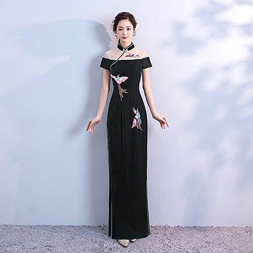 YT-ER Vintage Bestickt Samt Langes Kleid Schlank Hochzeitskleid Mutter Cheongsam Kleid Jährlichen...