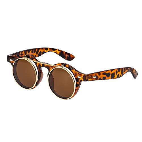 Ultra Tiger/Leopard Print Flip Up Kreis Premium Qualität Steampunk Brille Retro Frauen Männer Runde Rave Gothic Vintage Rustikale Niet Viktorianischen Punk Cyber Welding Cosplay UV400 Sonnenbrille