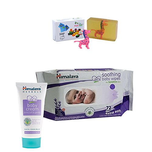 Himalaya Herbals Baby Cream (50g)+Himalaya Herbals Soothing Baby Wipes (72 Sheets) With Happy Baby Luxurious Kids Soap With Toy (100gm)