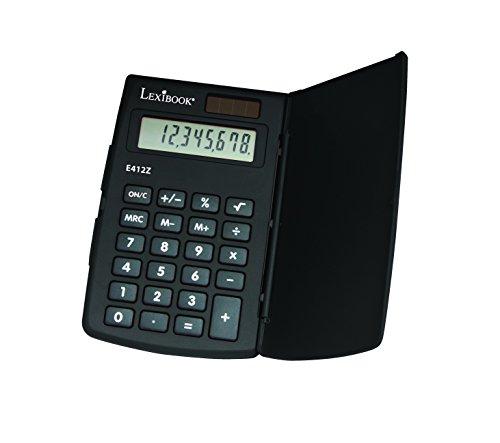 Lexibook e412z-Taschenrechner, 8stellig, traditionellen Funktionen und erweiterte, Grundschule, Schutz Schutzhülle, Farben Sortiert (schwarz/rot) (4 Funktions-solar-taschenrechner)