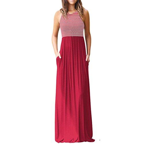 Yanhoo-Dress Damen Yanhoo Gestreift Lange Boho Kleid Lady Beach Sommer Sundrss Maxikleid Strand häkeln Vintage Floral Bodycon Sleeveless beiläufiges Abend Partei Abschlussball Schwingen (M, Rot B)