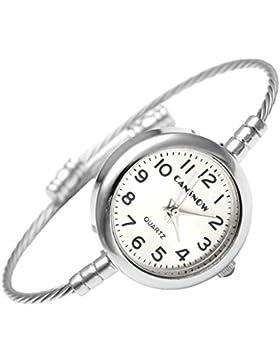 JSDDE Uhren,Casual Arabisch Ziffern Armbanduhr Silber Metall Band Armspange Uhr Analog Quarzuhr,Silber