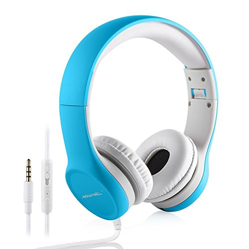 Kopfhörer für Kinder, hisonic Kinder Kopfhörer mit Laustärkebegrenzung Verstellbare Kinder Erwachsene Headset für iPod iPad iPhone Android Handy Tablet PC MP3 MP4 Player(Blau) (Iphone Ipod Mp3-handys)