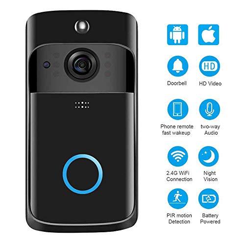 KUKUDIJIE Smart-Video-Türklingel WiFi-IP-Kamera, verbesserte drahtlose 2-Wege-Audio-Technologie für 720P-Nachtsicht in Echtzeit mit PIR-Bewegungserkennung Technologie Audio