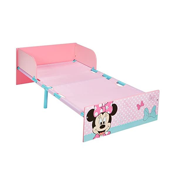 Disney Minnie Mouse Kids Toddler Bed by HelloHome  Sleep sweetly with this Minnie Mouse Toddler Bed Perfect size for toddlers, low to the ground with protective and sturdy side guards to keep your little one safe and snug Fits a standard cot bed mattress size 140cm x 70cm, mattress not included. Part of the Minnie Mouse bedroom furniture range from Hello Home 8