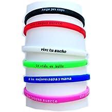 pulsera de goma de silicona grabado palabras de saludos,6pcs,lleva 6colores y 6 palabras de saludos.ancho 0.5cm