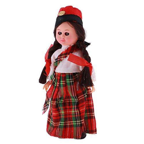 Homyl Handgefertigt International Ethnische Minipuppen, Britische Kostüme Mädchen Puppen, Tourist Souvenirs Geschenke ( Höhe: 4 Zoll (Tourist Kostüm Mädchen)