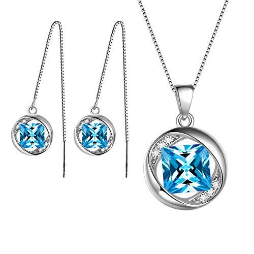 AuroraTears März Birthstone Schmuck Sets 925 Sterling Silber Blau Aquamarin Birthstone Halskette und Ohrringe Set Geschenke für Frauen und Mädchen DS0029M - Aquamarin-geburtsstein-set
