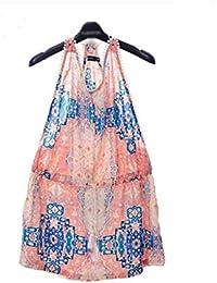Pijamas Mujer Verano Espalda Descubierta Camisón Vestido Elegante Moda Albornoz Exquisito Sleeveless Estampadas Bastante Sling con