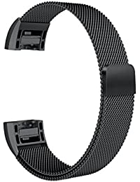 House of Quirk Magnetic Strap Compatible for Fitbit Charge 2 Milanese Band Mesh Metal Replacement Bracelet (Black)