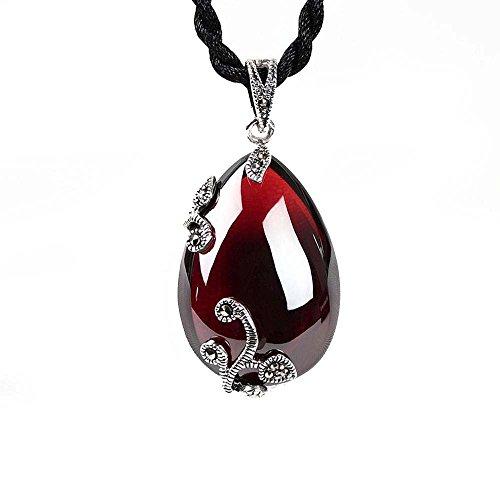 Penao 925 Silber Tropfen Granat-Rubin-Anhänger, Dame Pullover Kette Halskette Anhänger Silber Schmuck