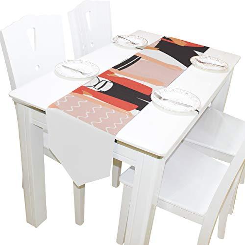 Yushg Junge Damen Mädchen Bester Freund für Immer Kommode Schal Tuch Abdeckung Tischläufer Tischdecke Tischset Küche Esszimmer Wohnzimmer Haus Hochzeit Bankett Dekor Indoor 13x90 Zoll