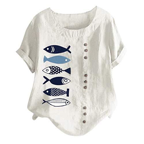 Lomsarsh Frauen Tops Kurzarm Sommer Casual Plus Size O-Ausschnitt gedruckt lose Taste Tunika Shirt Tops Blusen - Krinoline Petticoat Plus 26