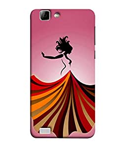PrintVisa Designer Back Case Cover for Vivo V1 (Girl In Pink With Colourful Gown)