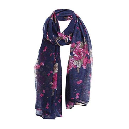 Damen Mädchen Schals Wraps, KaloryWee Mode Damen Drucken Muster Blume Strand Lange Schal Halstuch