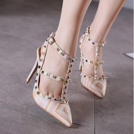 GS~LY Scarpe a punta colorate rivetto una fibbia scarpe a spillo tacchi alti orange red