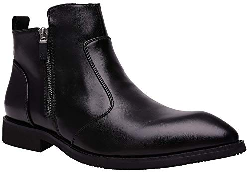 JINBEILE Hombres Botas Botines Chelsea & Chukka Boots Negro Cuero Zapatos A- Negro 41