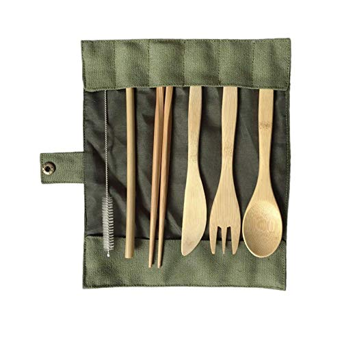 HEIRAO Set de Cubiertos de bambú Portátil Natural Segura Cuchillo de bambú Cuchara Tenedor Cuchara, Ajuste para el Viaje de Camping Picnic Set de 6, Bolsa de Tela