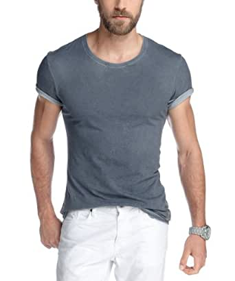 edc by ESPRIT Herren T-Shirt Slim Fit 053CC2K035, Gr. 48 (M), Blau (dark washed blue 442)