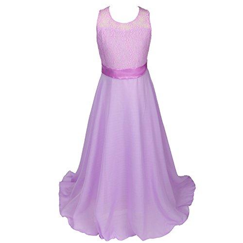 discoball Mädchen Chiffon Blumen Bodenlang Kleid Lavendel, ca.12-14 Jahre