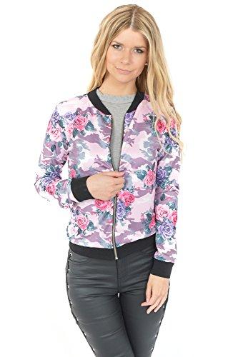 Freshlions Damen Blouson Bomberjacke mit Flower Prints in verschiedenen Farben (S/M, Pink)