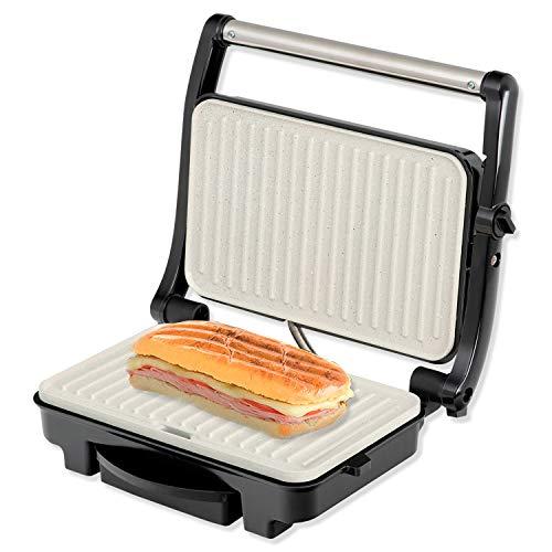 IKOHS Stone Grill 1500 - Sandwich Maker Grill, 1500 W, Antihaftbeschichtungsplatten aus Keramik, 105º Öffnung, einstellbare Höhe, nicht wärmeübertragender Griff, BPA-frei, Temperaturanzeige, grau