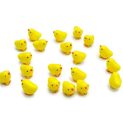 Armena Figuren Mini Küken Tierfiguren 20 Stück Schafe Garten Ornamentee 1.6X1.4cm, Gelb -