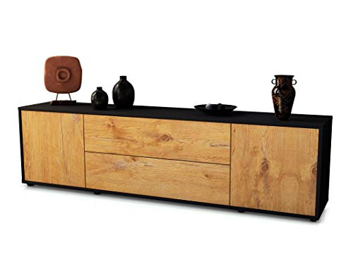 Stil.Zeit TV Schrank Lowboard Tina, Korpus in anthrazit matt/Front im Holz-Design Eiche (180x49x35cm), mit Push-to-Open Technik und hochwertigen Leichtlaufschienen, Made in Germany
