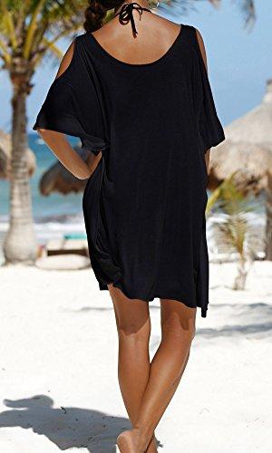 Jastore®5 Farben Weiß Schwarz schulterfrei boho Damen Strandponcho Sommer Überwurf Kaftan Strandkleid Bikini Cover Up bluse T Shirt Frauen Schwarz