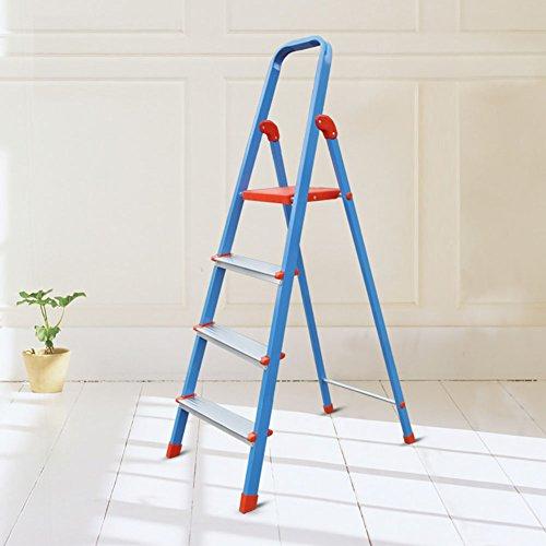 LFF- Scala in lega di alluminio addensare 4 passi Pieghevole scaletta portatile blu Home Economica Pieghevole scala pieghevole