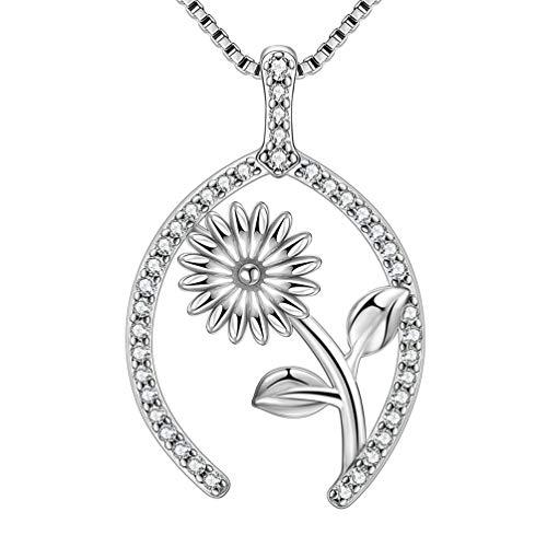 AuroraTears 925 Sterling Silber Wishbone Anhänger Halskette mit Kristallen Zirkonia für Frauen und Mädchen DP0116W (Wishbone Halskette Sterling Silber)